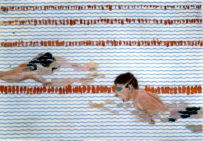 Click to enlarge: Roman and his brother swimming